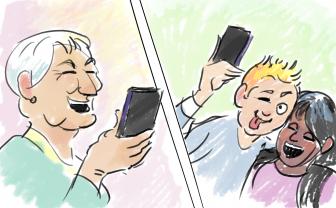 Tekening van digitaal samenspelen om contact te houden met ouderen