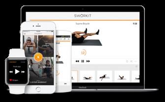Afbeelding mobiel, tablet en laptop met fitness oefeningen