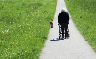 Vrouw achter rollator loopt met hondje buiten en dwaalt met dementie