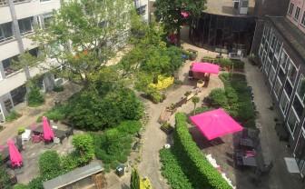Uitzicht over een groene tuin tussen flats