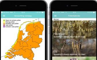 screenshot van Pollennieuws hooikoorts app met pollenkaart