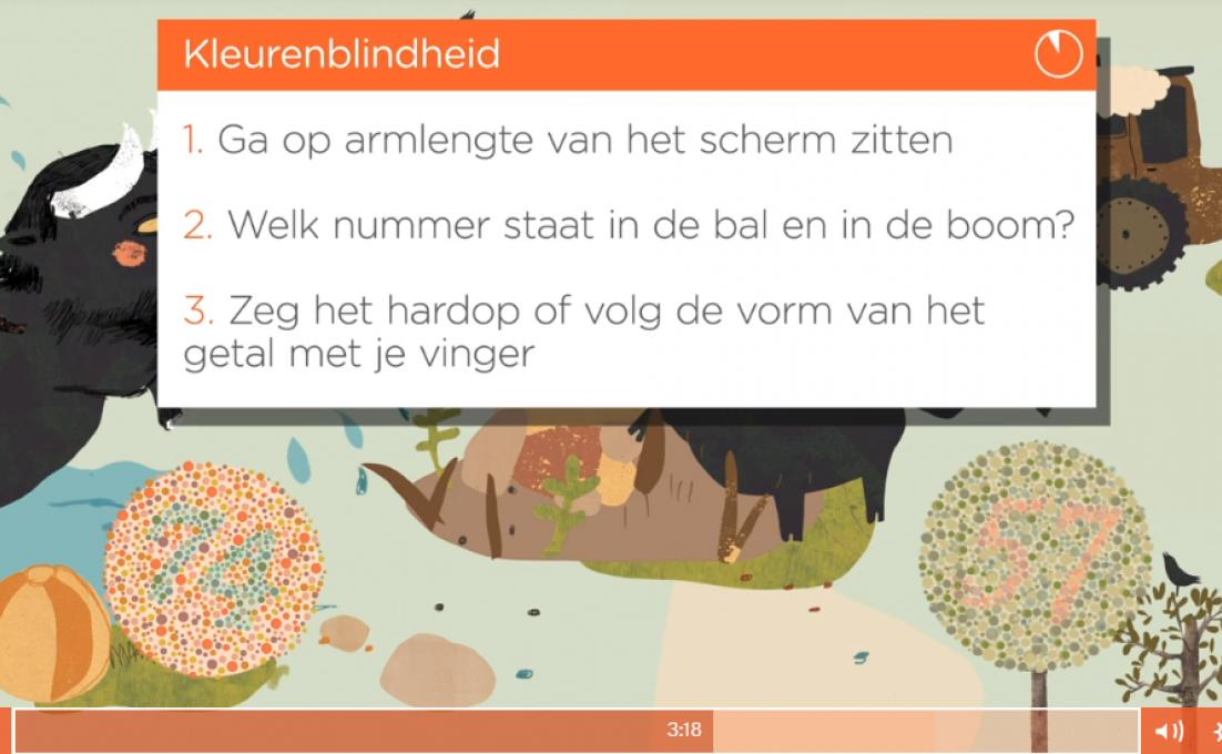 screenshot van het filmpje van Pelzenbob, de online oogtest voor kinderen
