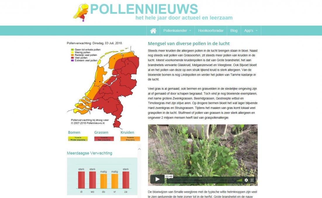 Homepage Pollennieuws.nl die laat zien welke pollen nu in de lucht zijn